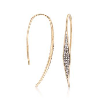 .17 ct. t.w. Pave Diamond Geometric Linear Earrings in 14kt Yellow Gold, , default
