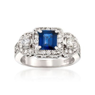 .90 Carat Sapphire and .91 ct. t.w. Diamond Ring in 18kt White Gold
