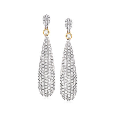 3.00 ct. t.w. Diamond Drop Earrings in Sterling Silver with 14kt Yellow Gold