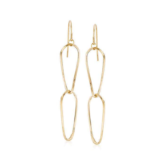 Italian 18kt Yellow Gold Double Pear-Shape Drop Earrings, , default