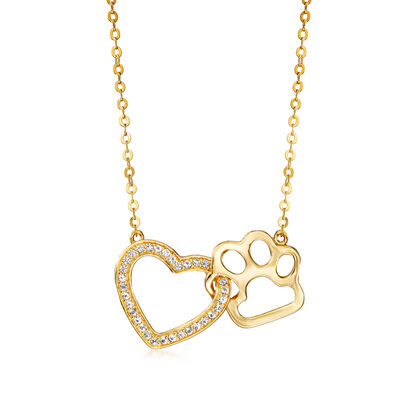 .20 ct. t.w. White Topaz Heart and Paw Necklace in 18kt Gold Over Sterling, , default
