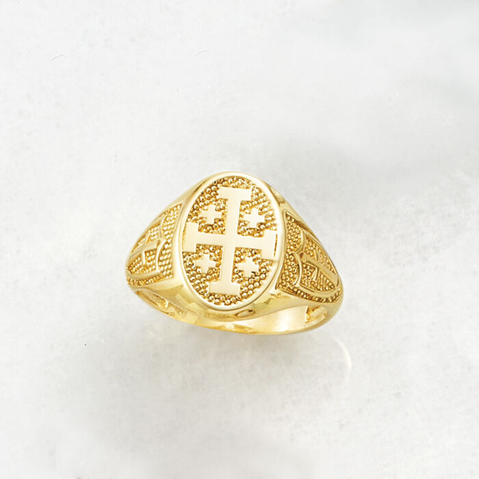 14kt Yellow Gold Multi-Cross Signet Ring