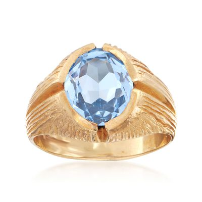C. 1970 Vintage 4.95 Carat Synthetic Blue Spinel Ring in 10kt Yellow Gold, , default