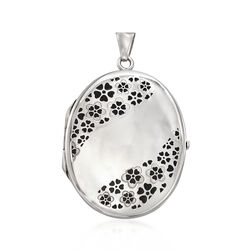 Italian Sterling Silver and Black Enamel Floral Locket Pendant, , default