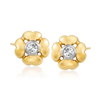 C. 1980 Vintage .10 ct. t.w. Diamond Flower Earrings in 14kt Yellow Gold, , default