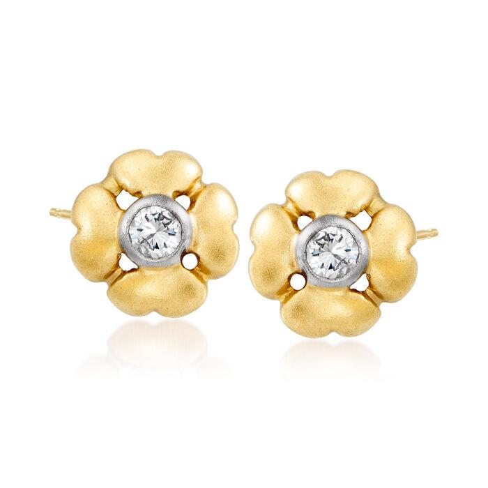 C. 1980 Vintage .10 ct. t.w. Diamond Flower Earrings in 14kt Yellow Gold, , default