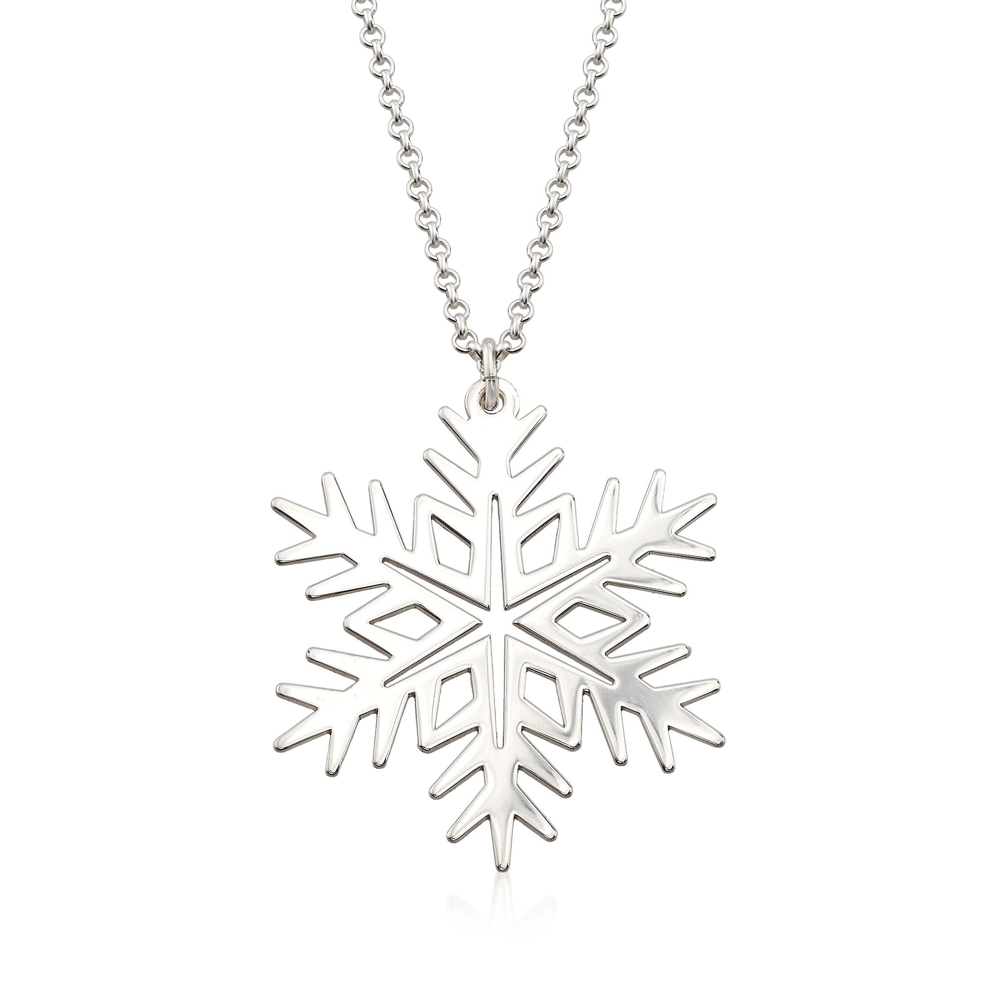 """Sterling Silver Snowflake Pendant Necklace with 18/"""" Chain /& Gift Box"""