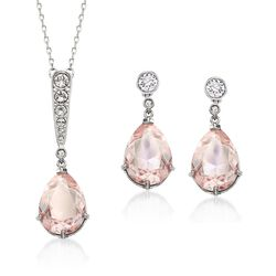 "Swarovski Crystal ""Vintage"" Pink and Clear Crystal Jewelry Set: Earrings and Necklace in Silvertone. 14.75"", , default"
