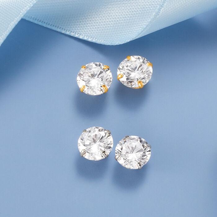 3.00 ct. t.w. CZ Stud Earrings in 14kt Yellow Gold
