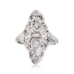 C. 1935 Vintage .37 ct. t.w. Diamond Dinner Ring in Platinum and 18kt Gold. Size 5.5, , default