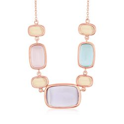 "Multicolored Glass Necklace in 18kt Rose Gold Over Sterling. 17.25"", , default"