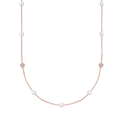 "Mikimoto ""Cherry Blossom"" 7mm A+ Akoya Pearl and .46 ct. t.w. Diamond Necklace in 18kt Rose Gold"