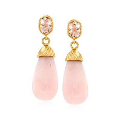 Pink Opal and 1.40 ct. t.w. Morganite Drop Earrings in 18kt Gold Over Sterling