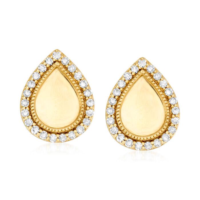 .18 ct. t.w. Diamond Pear-Shaped Stud Earrings in 18kt Gold Over Sterling