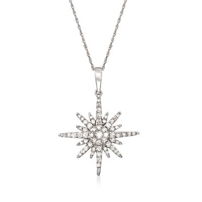 .50 ct. t.w. Diamond Sunburst Pendant Necklace in 14kt White Gold