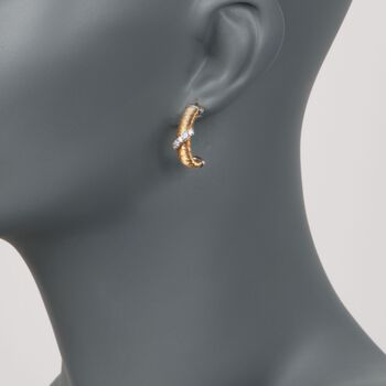 Italian .20 ct. t.w. CZ Wire-Wrapped Hoop Earrings in Sterling Silver and 18kt Gold Over Sterling, , default