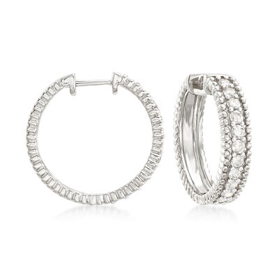 1.00 ct. t.w. Diamond Beaded Hoop Earrings in Sterling Silver