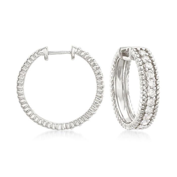 "1.00 ct. t.w. Diamond Beaded Hoop Earrings in Sterling Silver. 3/4"", , default"