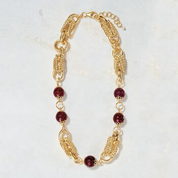 """90.00 ct. t.w. Purple Quartz Bead and Chain Link Necklace in 18kt Yellow Gold Over Sterling. 18"""", , default"""