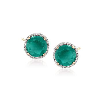 5.00 ct. t.w. Opaque Emerald and .22 ct. t.w. Diamond Earrings in 14kt Yellow Gold , , default