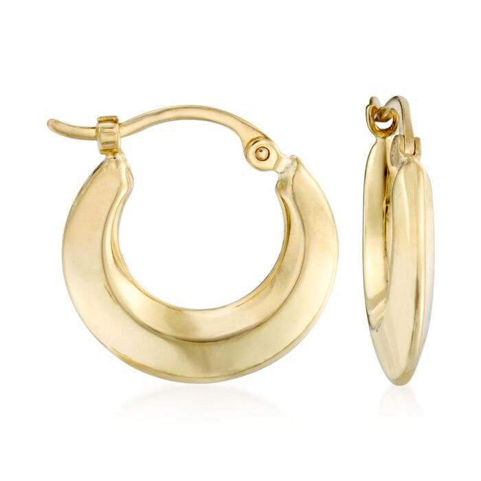 14kt Yellow Gold Puffed Hoops, , default