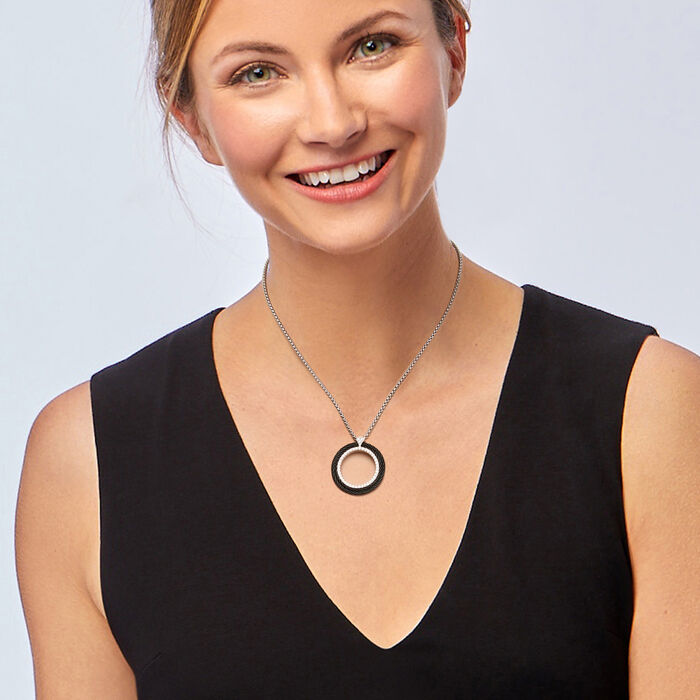 ALOR .36 ct. t.w. Diamond Open-Circle Black and Gray Stainless Steel Cable Pendant Necklace with 18kt White Gold