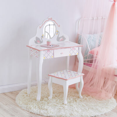 Child's Swan Lake White and Pink Vanity and Stool Set, , default