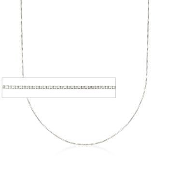 0.6mm 14kt White Gold Box Chain Necklace, , default