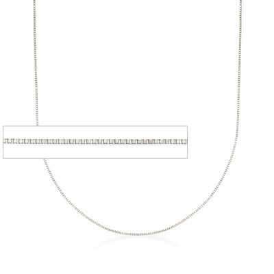 0.6mm 14kt White Gold Box Chain Necklace, , default