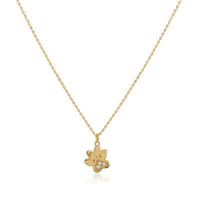 14kt Yellow Gold Paw Print Pendant Necklace with Diamond Accents, , default