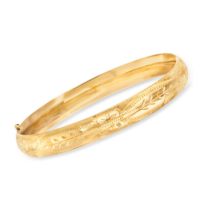 14kt Yellow Gold Floral Etched Bangle Bracelet