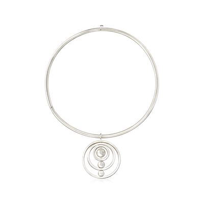 Sterling Silver Multi-Circle and Bead Drop Necklace, , default