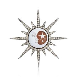 12mm Sun and Moon Shell Cameo Pendant With .62 ct. t.w. Diamonds in Sterling Silver, , default
