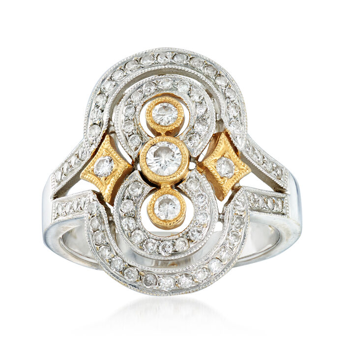 C. 2000 Vintage 1.00 ct. t.w. Diamond Dinner Ring in 18kt Two-Tone Gold. Size 7.25, , default