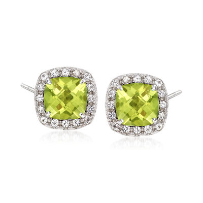 .20 ct. t.w. Peridot and .10 ct. t.w. White Topaz Stud Earrings Sterling Silver