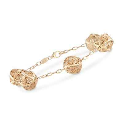 14kt Yellow Gold Openwork Ball Station Bracelet, , default