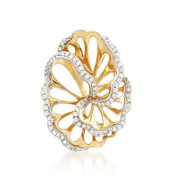 .19 ct. t.w. Diamond Free-Form Pendant in 14kt Yellow Gold, , default