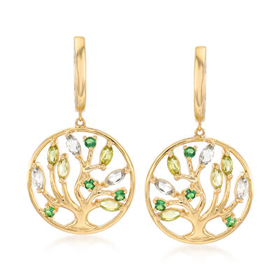 3.50 ct. t.w. Peridot, 1.20 ct. t.w. Prasiolite and .20 ct. t.w. Tsavorite Drop Earrings in 14kt Yellow Gold, , default