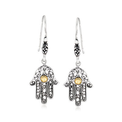 Sterling Silver Hamsa Hand Drop Earrings, , default