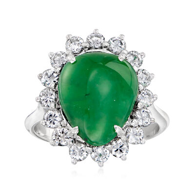 C. 1980 Vintage Nephrite and 1.00 ct. t.w. Diamond Ring in 14kt White Gold
