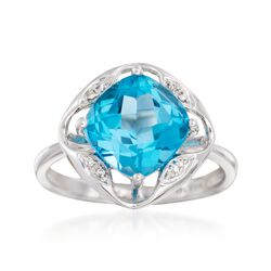 3.00 Carat Blue Topaz Ring With Diamond Accents in 14kt White Gold, , default