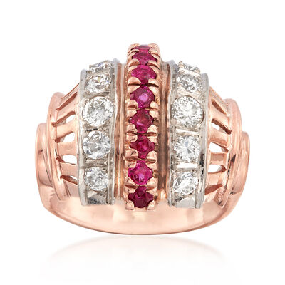 C. 1950 Vintage .85 ct. t.w. Diamond and .65 ct. t.w. Ruby Ring 14kt Rose Gold, , default