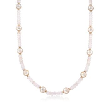 95.00 ct. t.w. Morganite Bead and 9.5-10.5mm Pink Cultured Pearl Station Necklace With 14kt Gold, , default