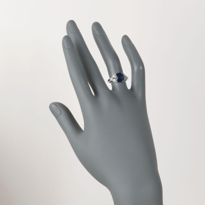 C. 1990 Vintage 3.46 Carat Sapphire and .35 ct. t.w. Diamond Ring in Platinum