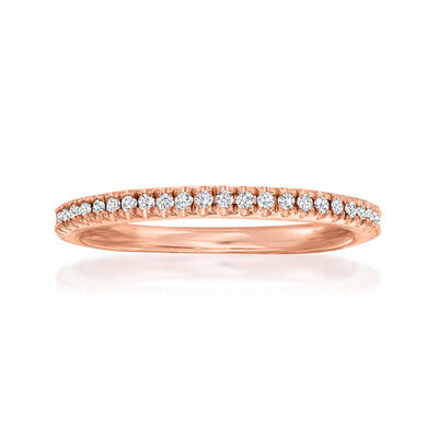 Henri Daussi .15 ct. t.w. Diamond Wedding Ring in 18kt Rose Gold