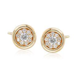 .40 ct. t.w. Bezel-Set Diamond Stud Earrings in 14kt Yellow Gold , , default