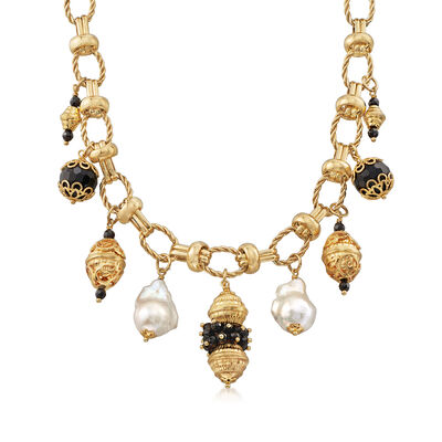 Italian Black Onyx and 15-16mm Cultured Baroque Pearl Necklace in 18kt Gold Over Sterling, , default