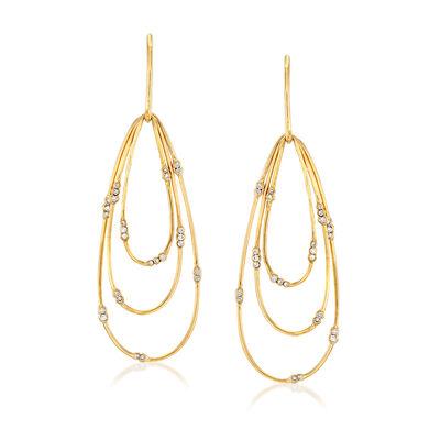 C. 1980 Vintage .65 ct. t.w. Diamond Multi-Loop Drop Earrings in 18kt Yellow Gold, , default
