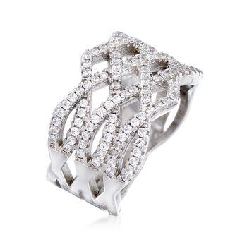 .50 ct. t.w. CZ Open-Weave Ring in Sterling Silver, , default