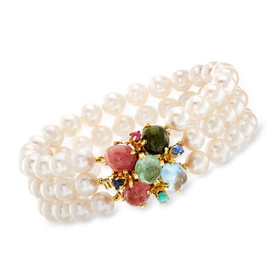 C. 1980 Vintage Cultured Pearl and 14.10 ct. t.w. Multi-Gemstone Three-Strand Bracelet in 14kt Yellow Gold